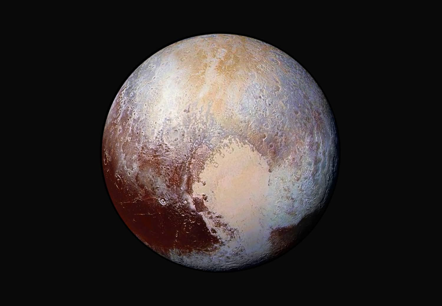 """This NASA image obtained July 24, 2015 shows how New Horizons scientists have used enhanced color images to detect differences in the composition and texture of Pluto''s surface. The """"heart of the heart,"""" Sputnik Planum, is suggestive of a source region of ices. The two bluish-white """"lobes"""" that extend to the southwest and northeast of the """"heart"""" may represent exotic ices being transported away from Sputnik Planum."""
