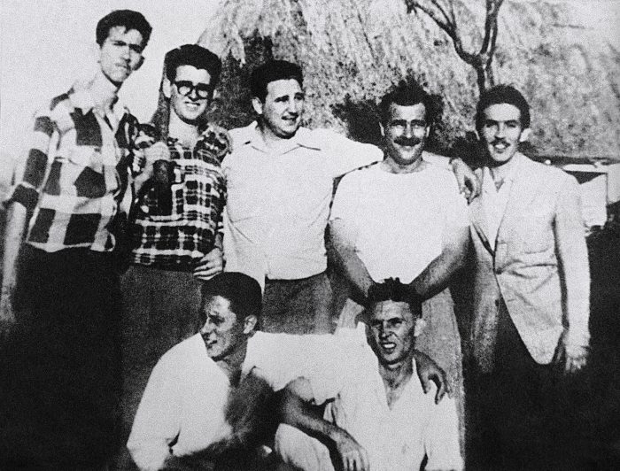 Fidel Castro, center, and comrades in Los Palos, Havana.