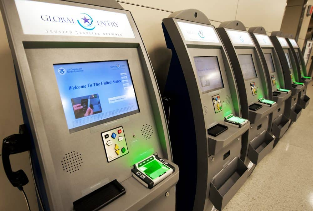 U.S. Customs and Border Protection Global Entry Trusted Traveler Network kiosks seen at Dulles International Airport.
