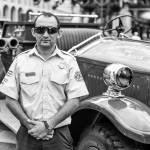 Andre Madrigal from the National Academy of Fire Fighters and the second fire truck to arrive in Costa Rica in the 1910's.