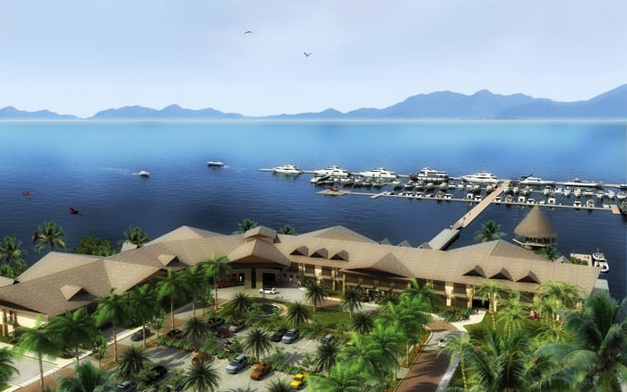 An artist's rendering of the proposed Crocodile Bay Marina in Puerto Jiménez.