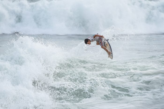Eventual mini-grommet champion Isuaro Elizondo, 11, of Panama said he comes to Costa Rica to surf for the higher level of competition.