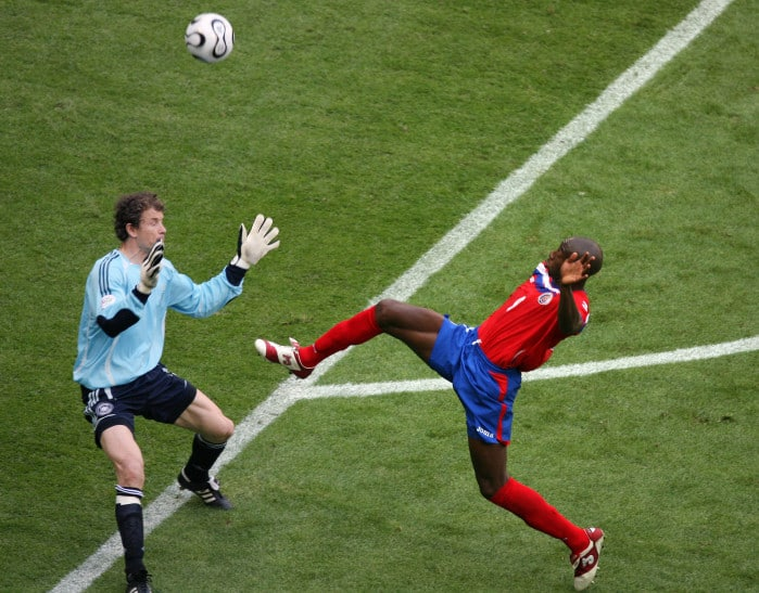 Wanchope, shown here against Germany in the 2006 World Cup, ranks as Costa Rica's best player of all time.