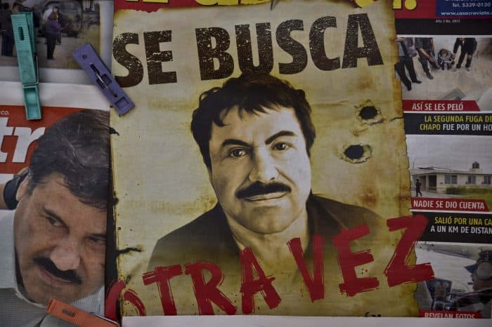 "A Sinaloa wanted poster of Mexican drug lord Joaquín ""El Chapo"" Guzmán."