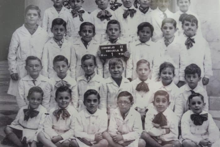 An archive photograph with Jorge Mario Bergoglio, first from the right on the bottom row, while he was in elementary school in Flores.