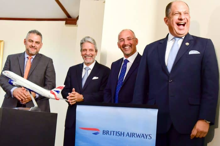 British Airwayws new route to San José. Aug. 5, 2015
