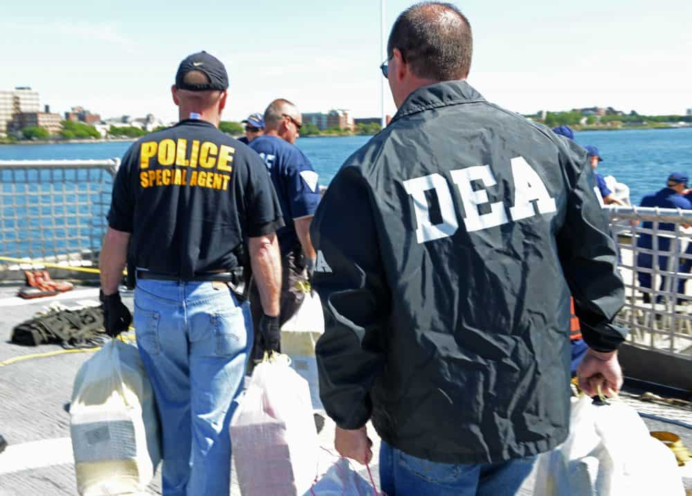 DEA agents on a cocaine bust.