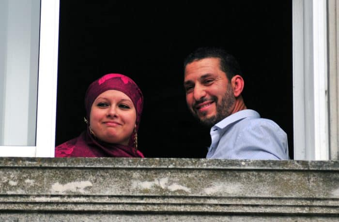 Tunisian Abdul bin Muhammad Abbas Ouerghi, right, a former Guantanamo inmate who was resettled in Uruguay, and new bride Samira.