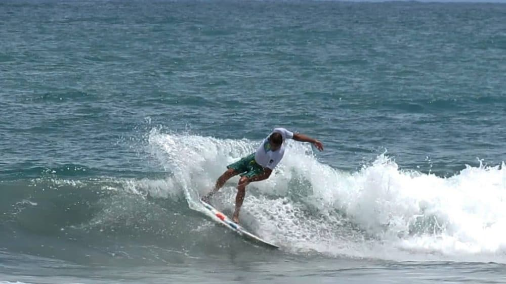 """Craig """"Tequila"""" Schreiber at the 2015 National Masters, SUP and Longboard Circuit championship at Playitas, Manuel Antonio, August 8, 2015."""