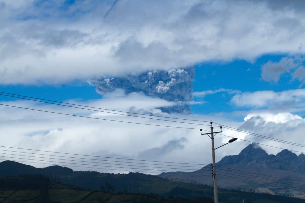 Ashes rise above Cotopaxi volcano in the Andes mountains about 50km south of Quito, Ecuador on August 14, 2015. The Cotopaxi reaches 5897m and is one of the highest volcanos.