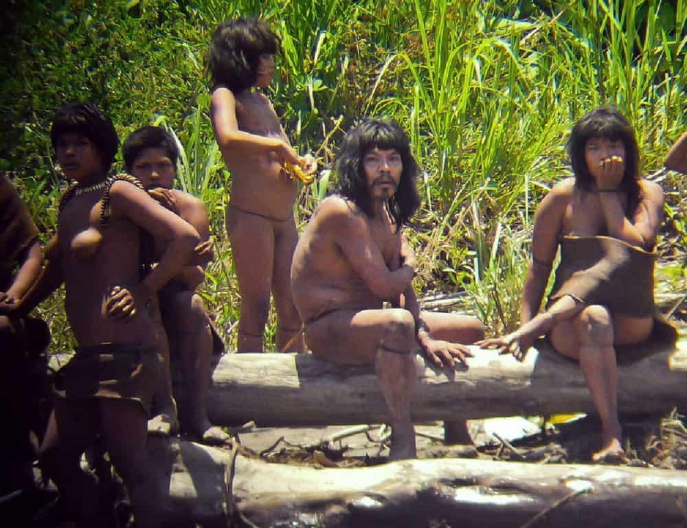 A family of the Mashco-Piro tribe somewhere in the southeastern Peruvian jungle.