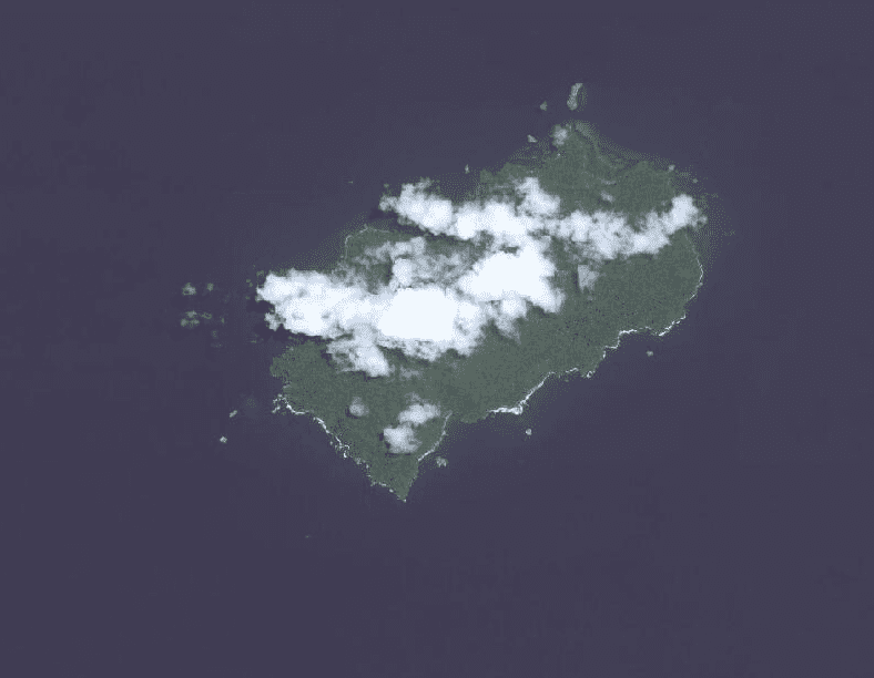 A satellite image of Cocos Island National Park.