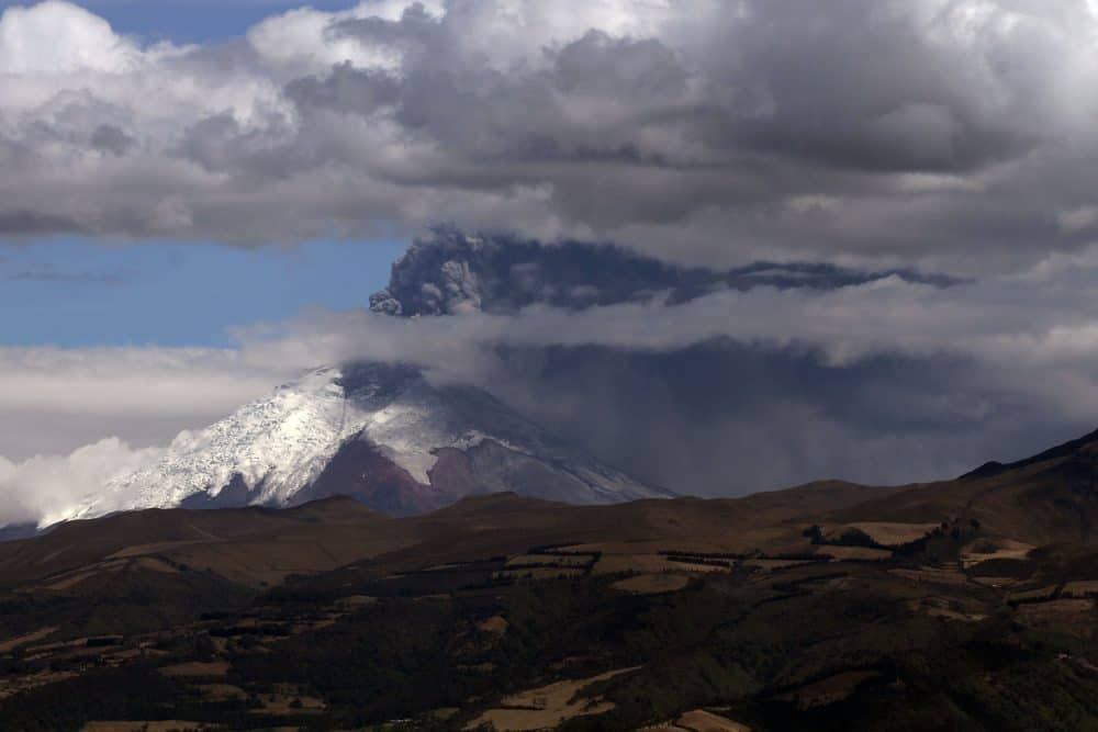 View of Cotopaxi Volcano spewing ash from Quito, Ecuador on August 22, 2015.
