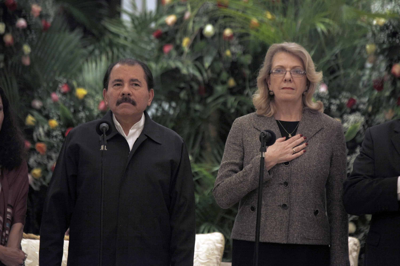 Nicaraguan President Daniel Ortega, left, and U.S. Ambassador to Nicaragua Phyllis Powers on May 3, 2012.