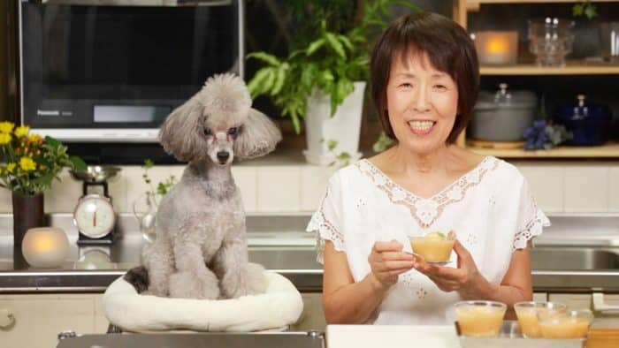 """Francis the toy poodle of """"Cooking with Dog"""" and his co-star, """"Chef."""""""
