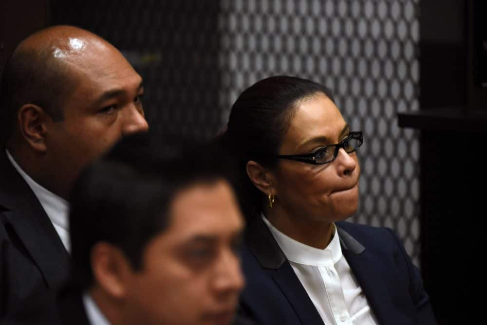 Guatemala's former Vice President Roxana Baldetti attends a hearing in court.
