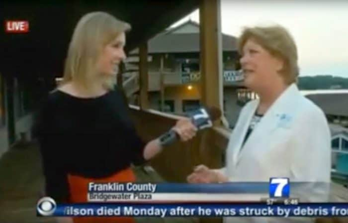 TV reporter Alison Parker, left, during an interview on tourism at a water park before she was shot and killed.