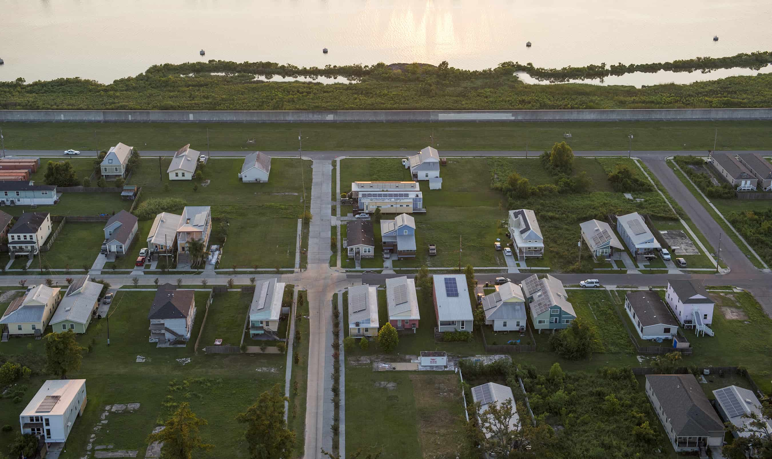 An aerial view shows the Lower Ninth Ward in New Orleans on Aug. 1, 2015.