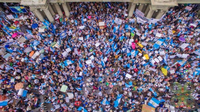 Thursday's massive protest in Guatemala City.