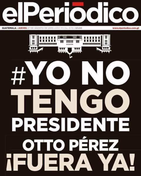 elPeriódico's front-page stating #YoNoTengoPresident