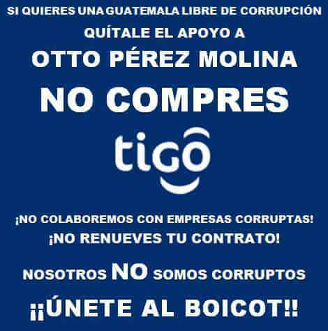 A flier calling for a boycott of Tigo.