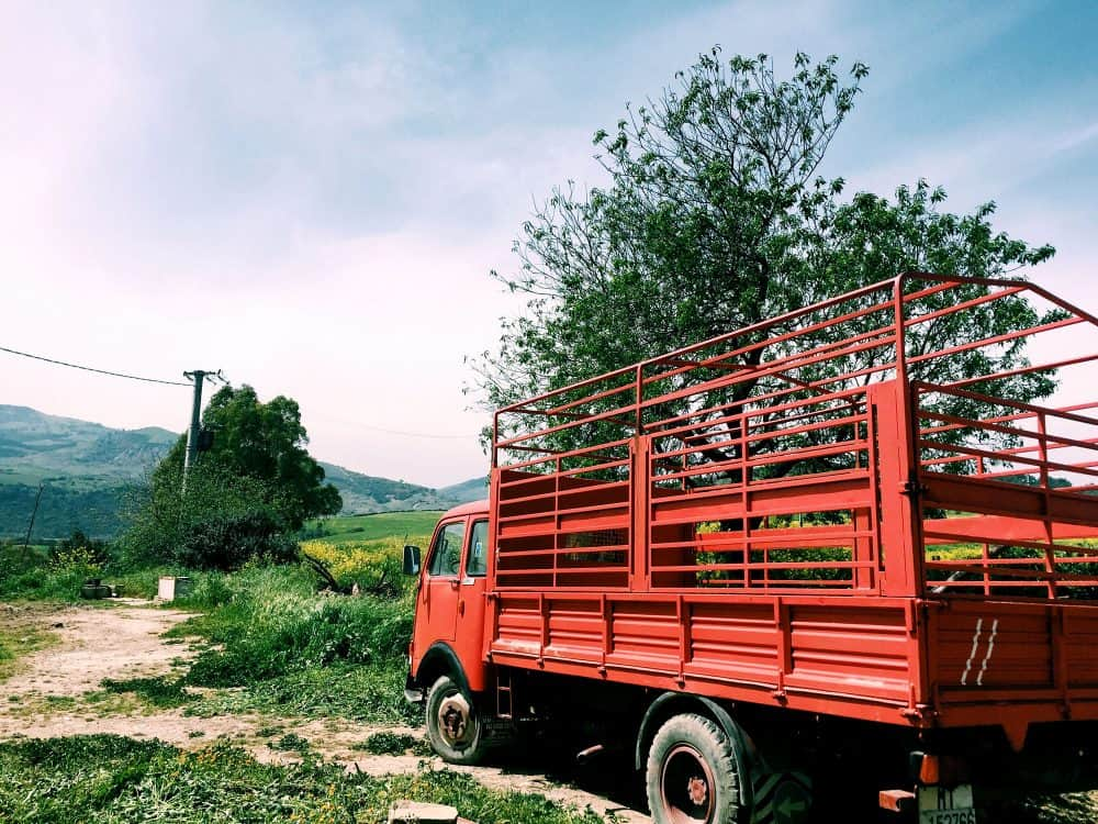 A truck on the farm that supplies much of the Palazzo Margheritaís produce.