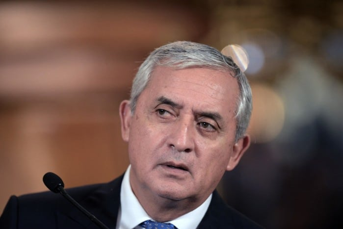 Guatemalan President Otto Pérez Molina speaks during a news conference at the presidential palace in Guatemala City on Aug. 31, 2015.