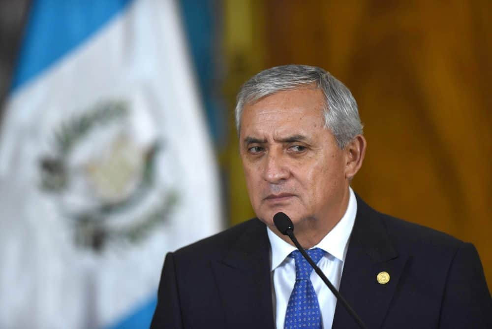 Guatemalan President Otto Pérez Molina speaks at a news conference at the presidential palace in Guatemala City, on Aug. 31, 2015.