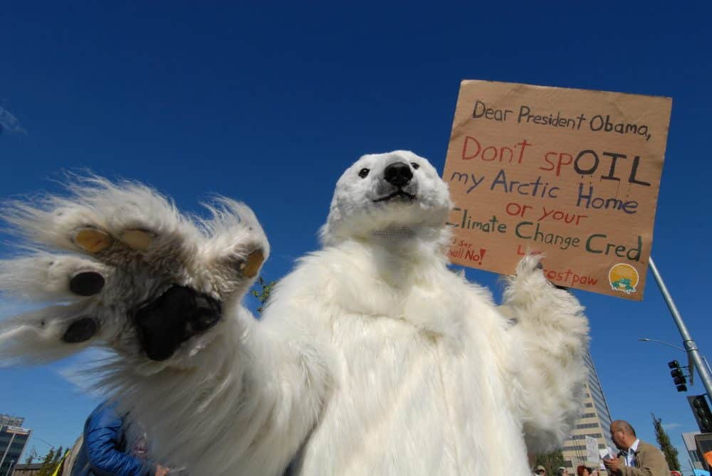 Protesters gather at Park Strip to demonstrate against Shell Oil.