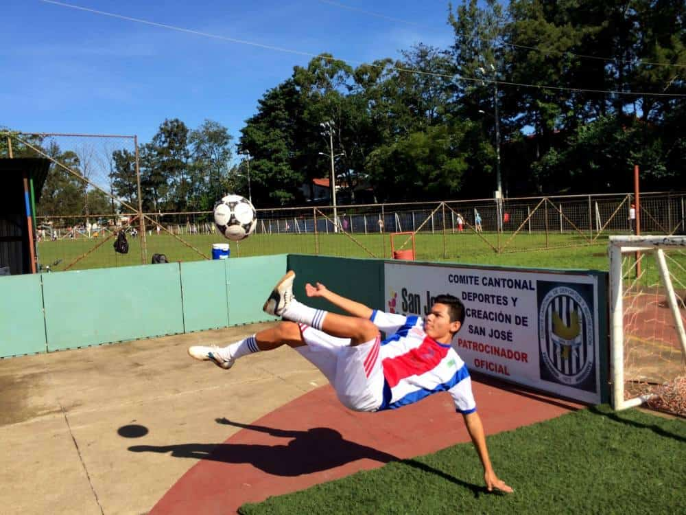 The Costa Rica street football team prepare for the Homeless World Cup that begins Sept. 12 in Amsterdam. Durman Vindas Ruiz, shown here, competed last year when Costa Rica's homeless players went to Santiago, Chile.