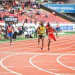 Lalonde Gordon (far left) of Trinidad & Tobago edged out Costa Rica's Nery Brenes in the men's 400 meter dash finals at the NACAC Championships in San José on Saturday, August 8, 2015.