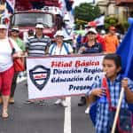 Teachers from public schools, members of the National Association of Educators (ANDE) attend the public employee protest in Avenida Segunda, San José, August 20, 2015.