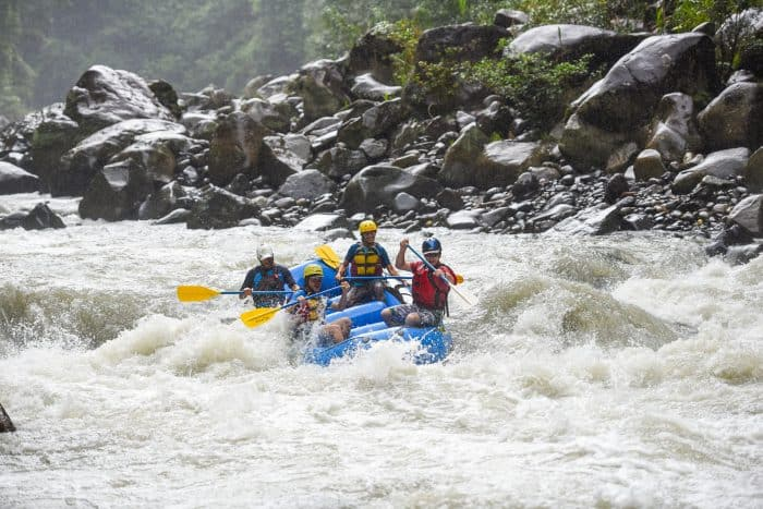 Rafters ride a rapid on the Pacuare.
