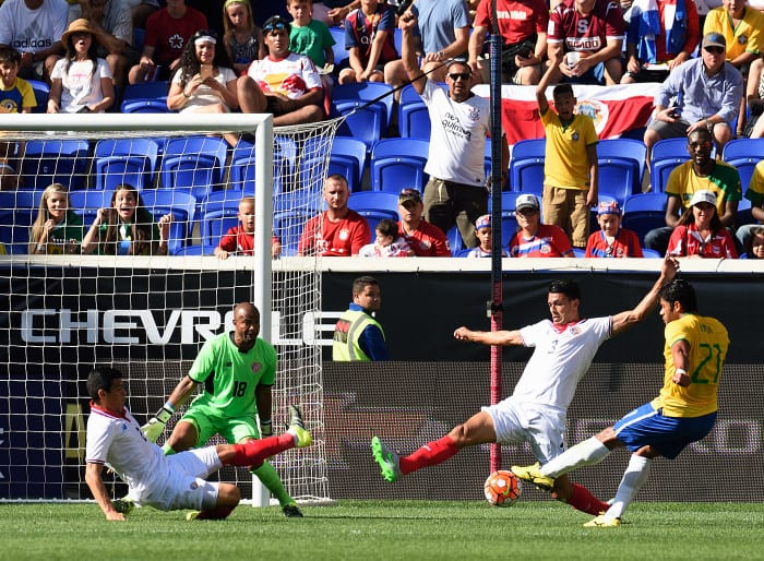 "Brazil's Givanildo Vieira de Sousa (21), known as ""Hulk,"" scores an early goal during the friendly match between Brazil and Costa Rica on September 5, 2015 at Red Bulls Arena in Harrison, New Jersey."
