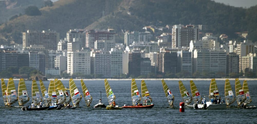 Sailing boats compete in the International Sailing Regatta held in the Guanabara Bay in Rio de Janeiro, Brazil on Aug. 19, 2015, an event that serves as a test for the Rio 2016 Olympic Games.