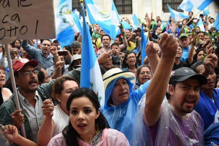 Guatemalans celebrate.
