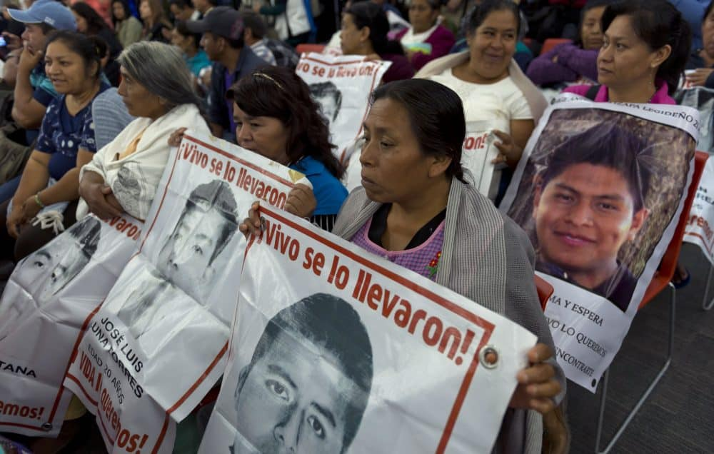 Relatives and friends of the 43 missing students of Ayotzinapa.
