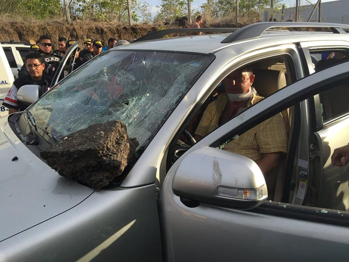 Daniel Bizier in his car after being attacked by a mob near the Liberia airport.