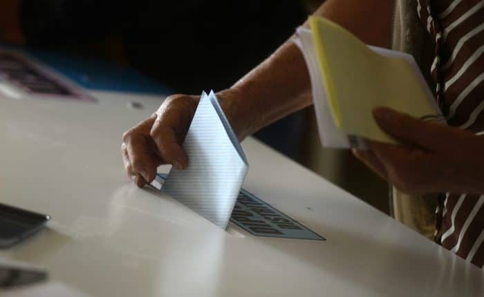 A woman casts her vote at a polling station in Mixco, 19 km from Guatemala City, during general elections on Sept. 6, 2015.