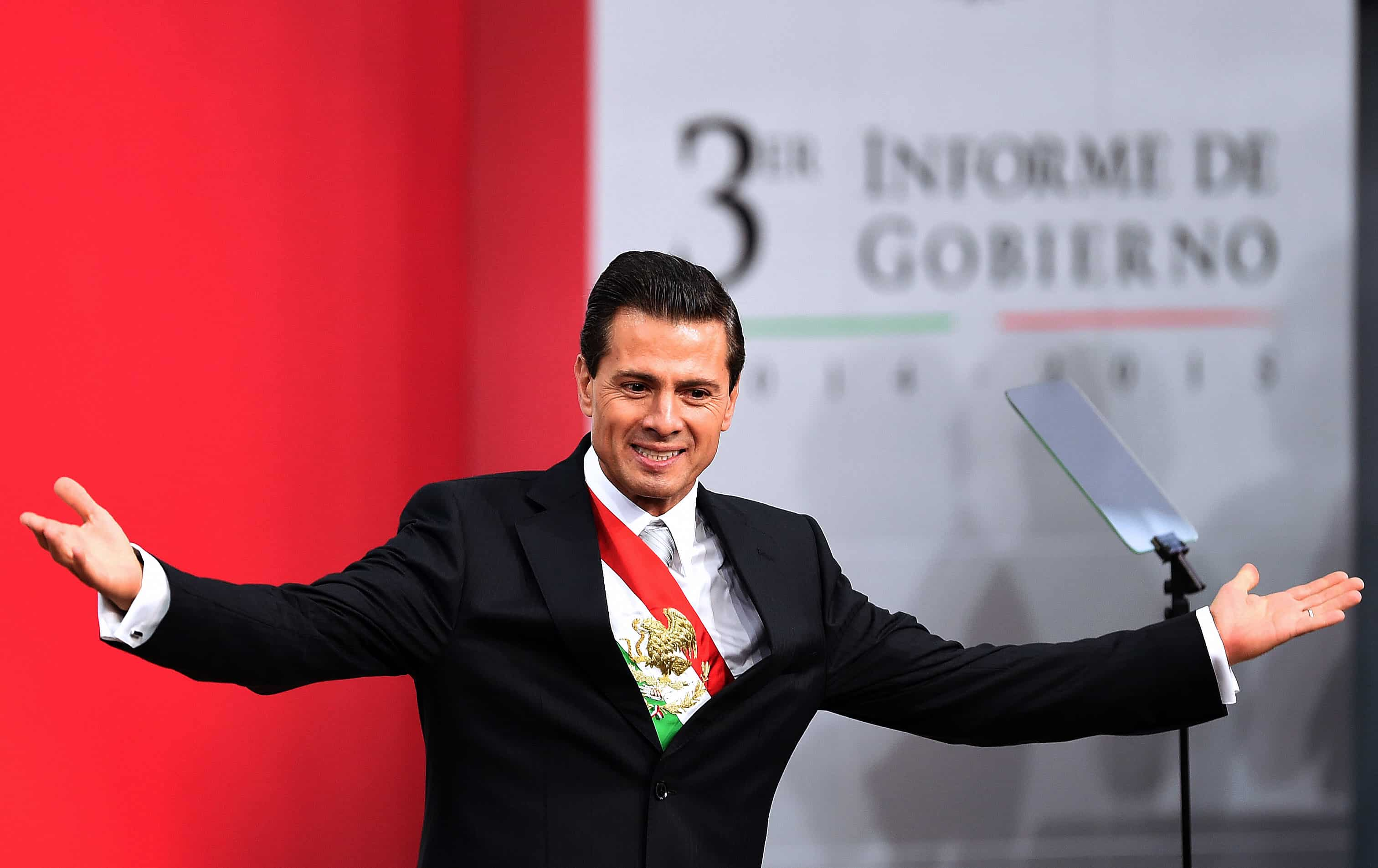 Mexican President Enrique Peña Nieto delivers his third annual report at the National Palace in Mexico City, on Sept. 2, 2015.