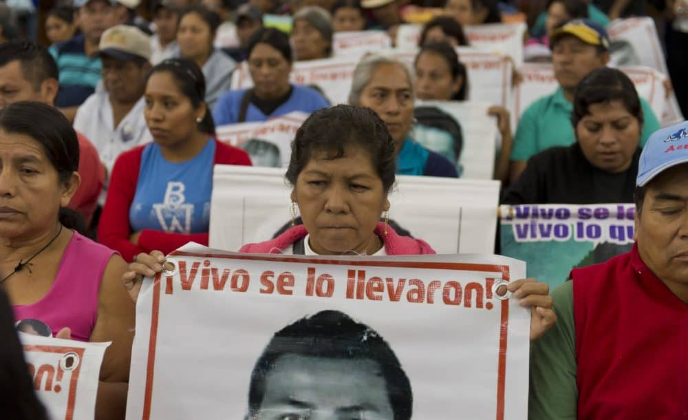 Relatives and friends of the 43 missing students of Ayotzinapa, meet with experts from the Inter-American Commission on Human Rights, who investigated the disappearance.