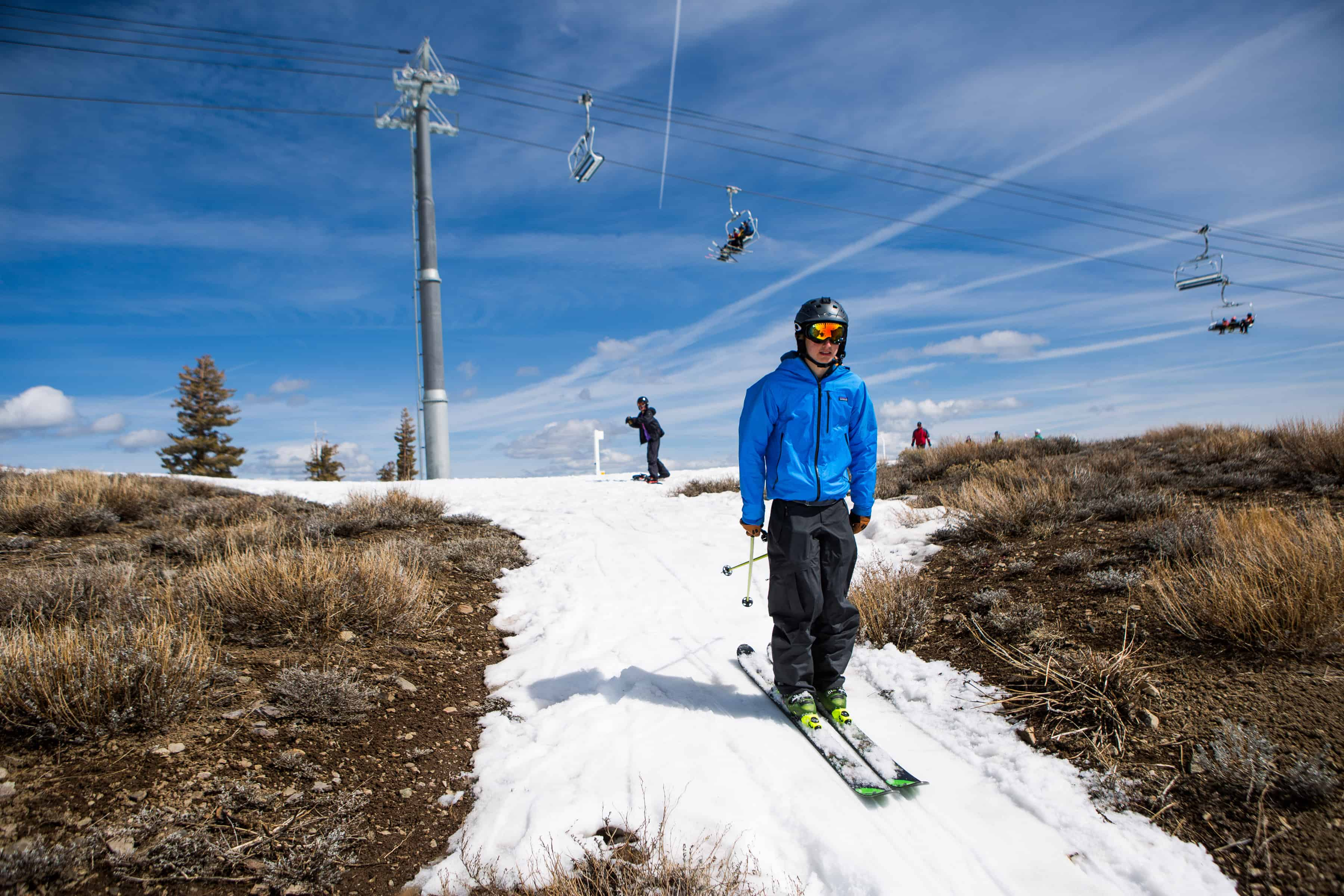 A skier hampered by California drought.