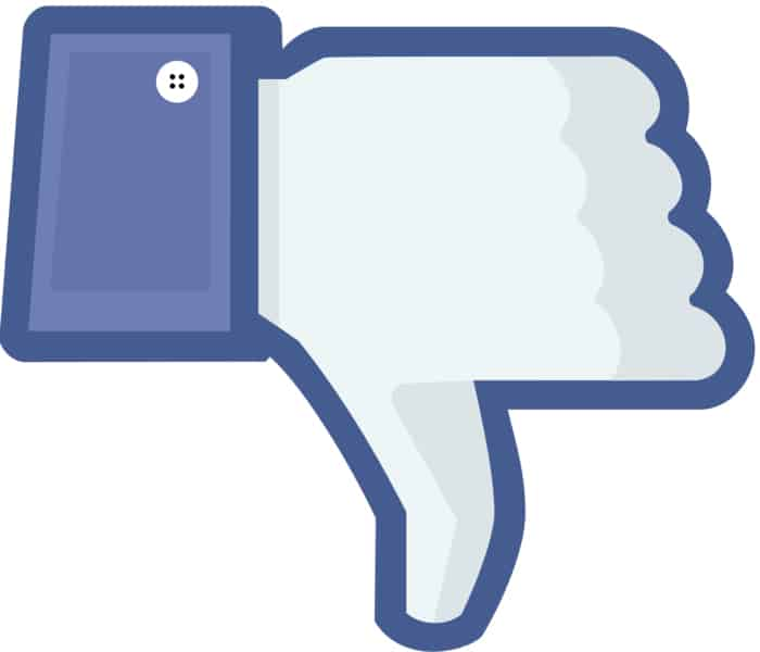 Button to dislike something on Facebook.
