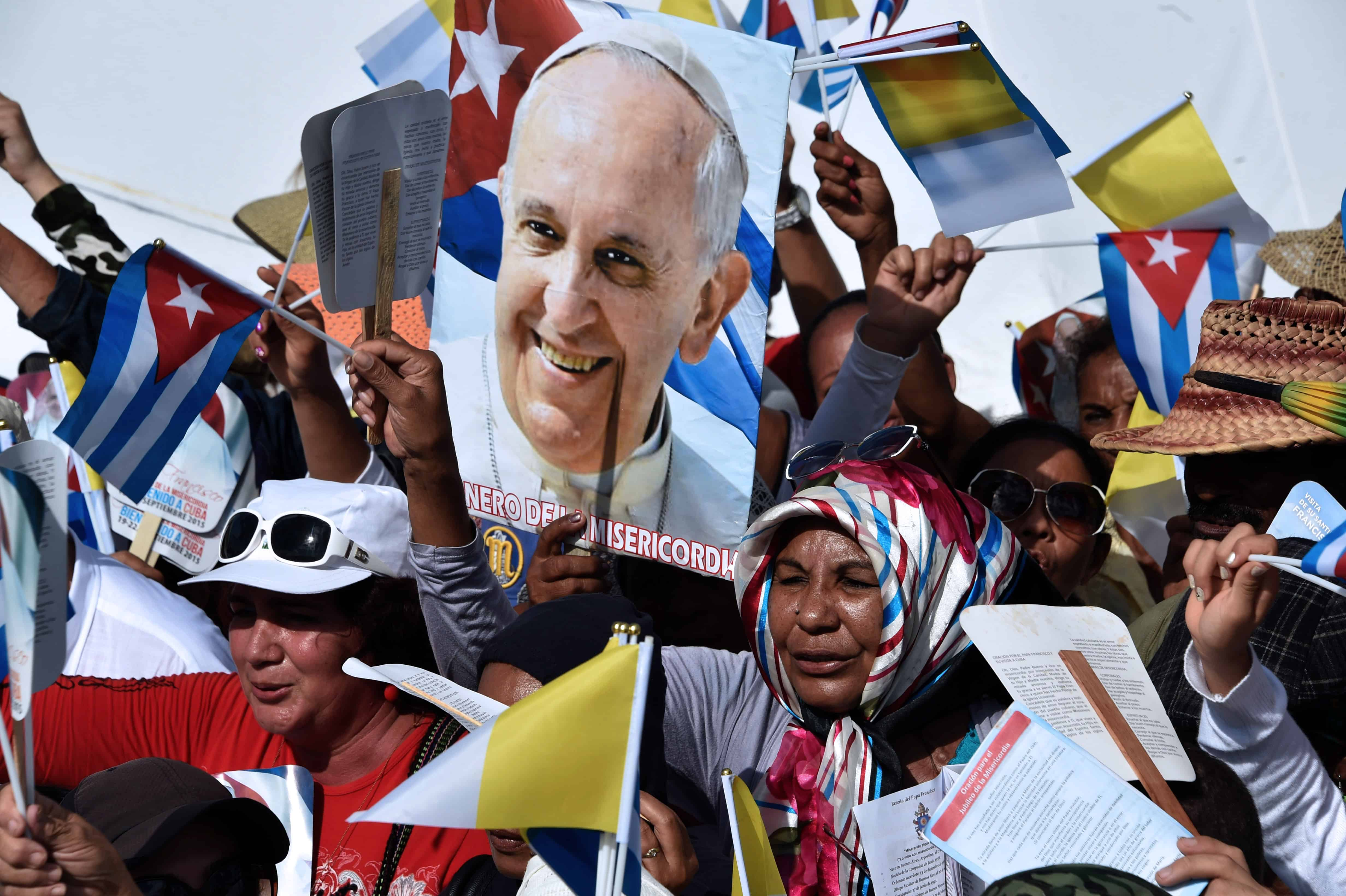 Pope Francis and an admirer in Cuba.
