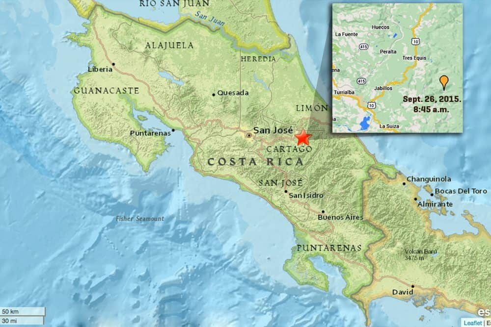 Earthquakes in Cartago, Sept. 26 2015
