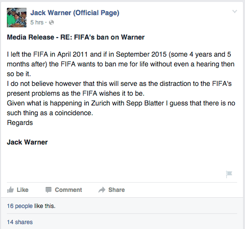 Message from Jack Warner on his Facebook page
