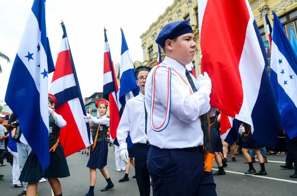 The traditional Costa Rica Independence Day march in San José.