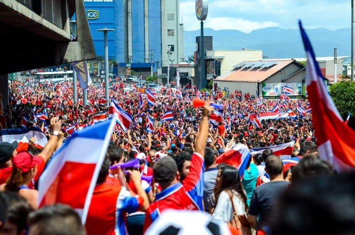 Fans celebrate after Costa Rica defeated Italy during the 2014 World Cup.
