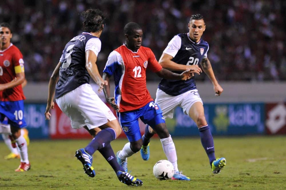 Costa Rica and U.S. football players