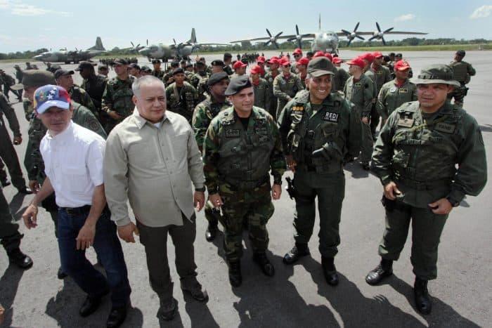 Diosdado Cabello and Venezuela troops.
